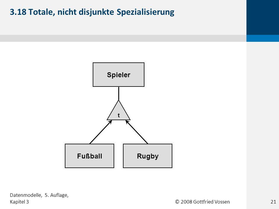 © 2008 Gottfried Vossen FußballRugby Spieler t 3.18 Totale, nicht disjunkte Spezialisierung Datenmodelle, 5. Auflage, Kapitel 321