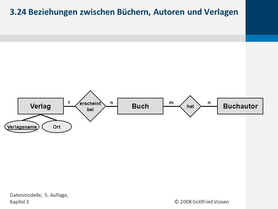 © 2008 Gottfried Vossen 3.24 Beziehungen zwischen Büchern, Autoren und Verlagen Datenmodelle, 5. Auflage, Kapitel 3 BuchautorBuchVerlag hat erscheint