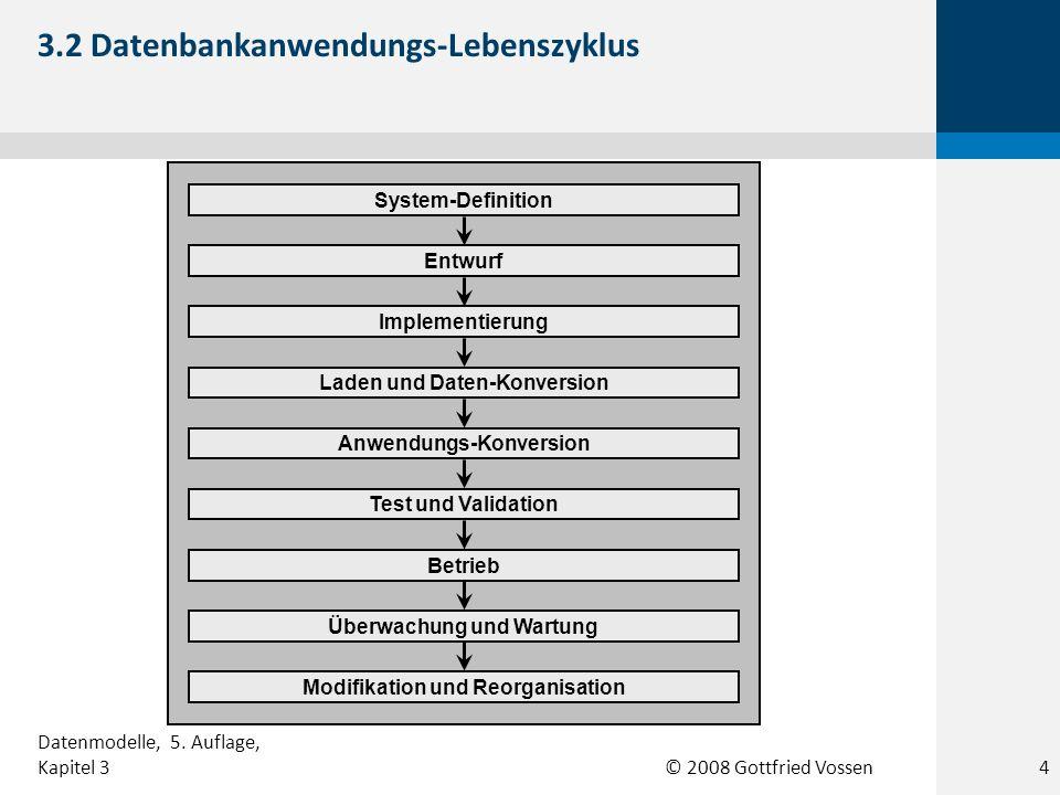 © 2008 Gottfried Vossen Entwurf Implementierung Anwendungs-Konversion Laden und Daten-Konversion System-Definition Test und Validation Überwachung und