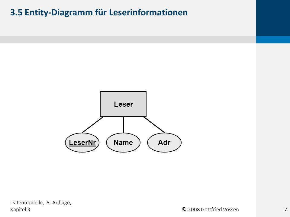 © 2008 Gottfried Vossen LeserNrNameAdr Leser 3.5 Entity-Diagramm für Leserinformationen Datenmodelle, 5. Auflage, Kapitel 37