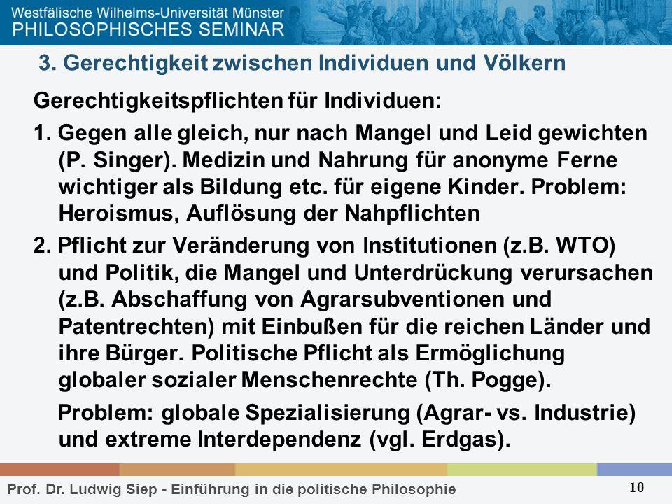 Prof. Dr. Ludwig Siep - Einführung in die politische Philosophie 10 3. Gerechtigkeit zwischen Individuen und Völkern Gerechtigkeitspflichten für Indiv
