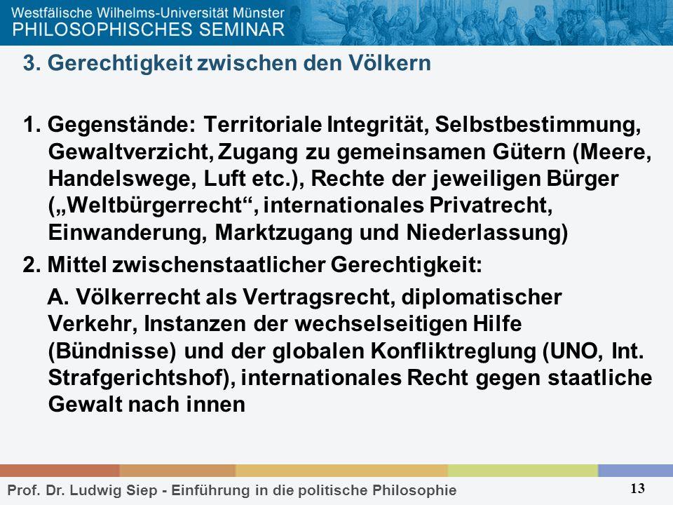 Prof. Dr. Ludwig Siep - Einführung in die politische Philosophie 13 3. Gerechtigkeit zwischen den Völkern 1. Gegenstände: Territoriale Integrität, Sel