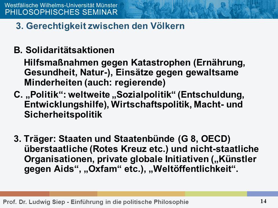 Prof. Dr. Ludwig Siep - Einführung in die politische Philosophie 14 3. Gerechtigkeit zwischen den Völkern B. Solidaritätsaktionen Hilfsmaßnahmen gegen