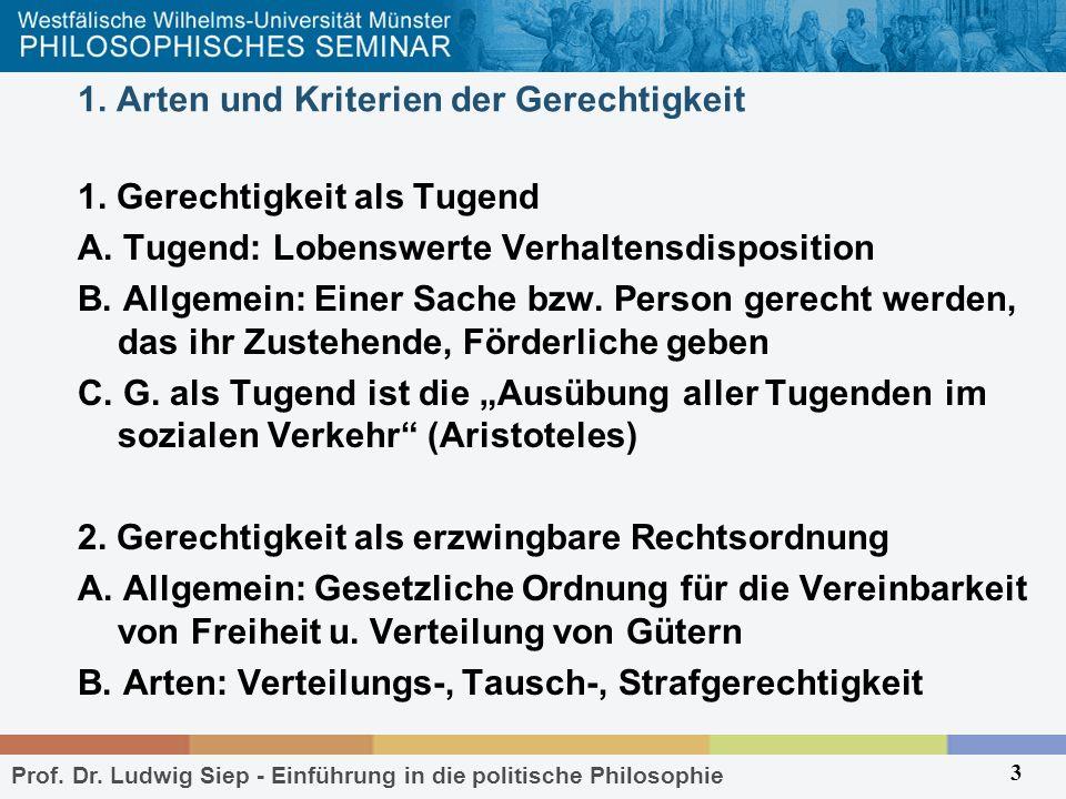 Prof. Dr. Ludwig Siep - Einführung in die politische Philosophie 3 1. Arten und Kriterien der Gerechtigkeit 1. Gerechtigkeit als Tugend A. Tugend: Lob