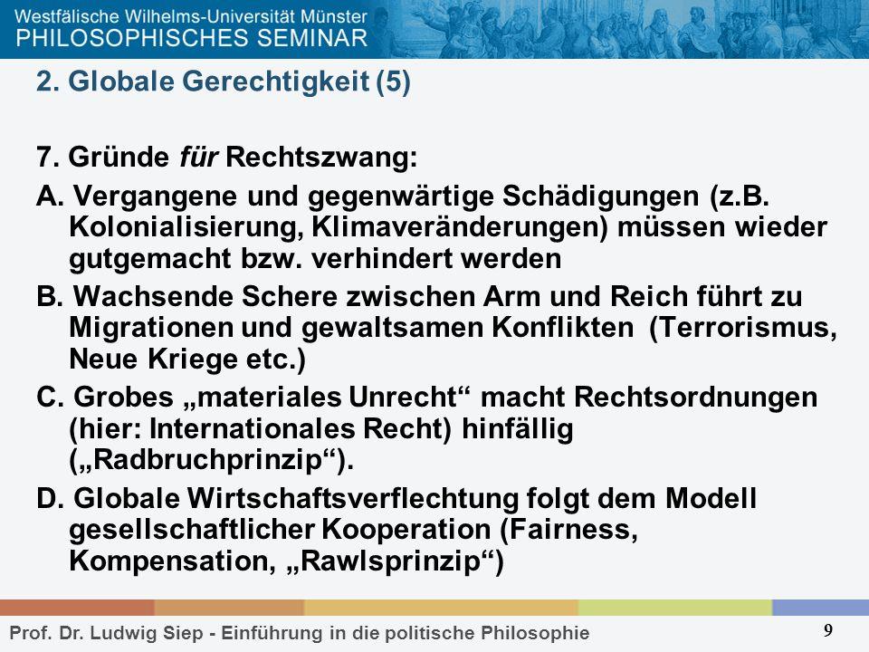 Prof. Dr. Ludwig Siep - Einführung in die politische Philosophie 9 2. Globale Gerechtigkeit (5) 7. Gründe für Rechtszwang: A. Vergangene und gegenwärt