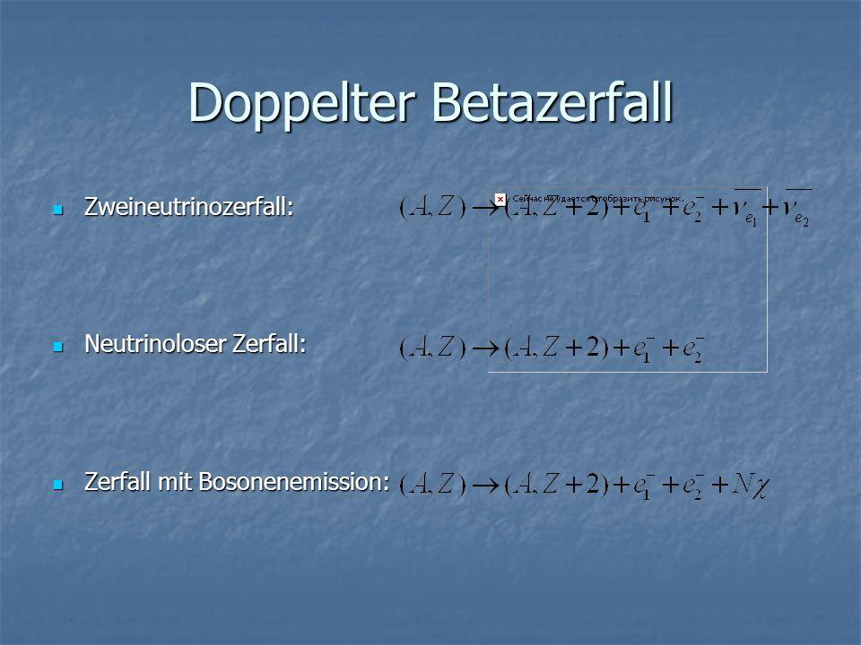 Doppelter Betazerfall Zweineutrinozerfall: Zweineutrinozerfall: Neutrinoloser Zerfall: Neutrinoloser Zerfall: Zerfall mit Bosonenemission: Zerfall mit Bosonenemission: