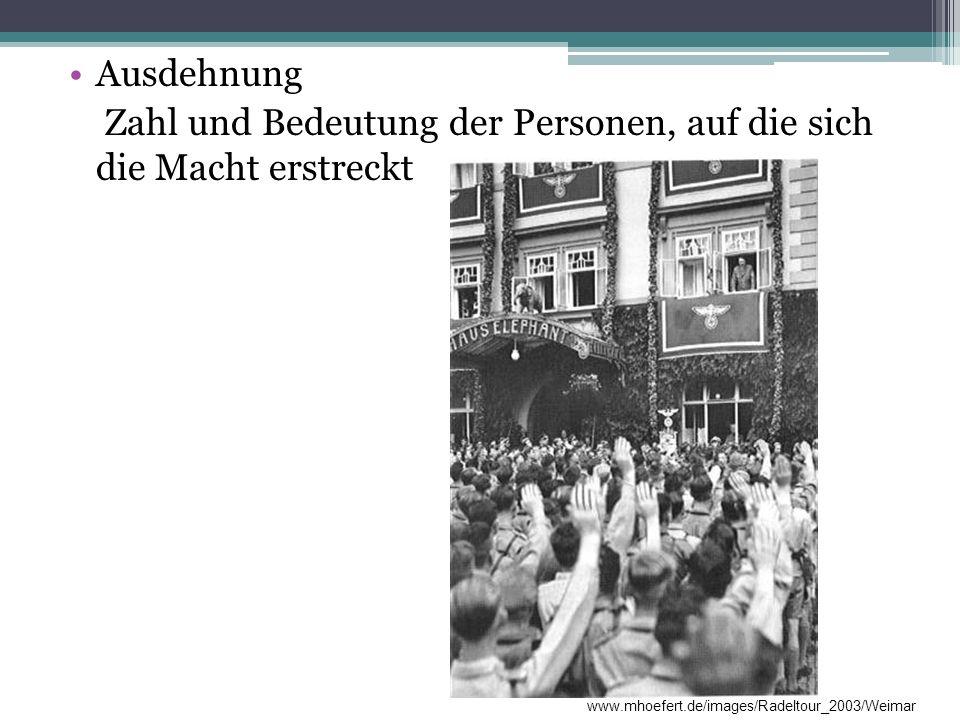 Ausdehnung Zahl und Bedeutung der Personen, auf die sich die Macht erstreckt www.mhoefert.de/images/Radeltour_2003/Weimar