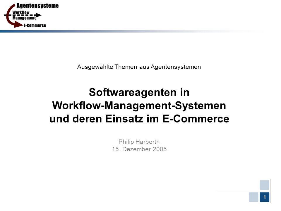 12 Gliederung 1.Workflows und Workflow-Management-Systeme 2.Der Agent – der mobile Agent 3.Architekturen für agentenbasierte Workflow-Systeme 4.Kooperative Workflows 5.Einsatzgebiet E-Commerce 6.Fazit