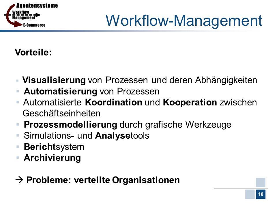 10 Workflow-Management Vorteile: Visualisierung von Prozessen und deren Abhängigkeiten Automatisierung von Prozessen Automatisierte Koordination und K