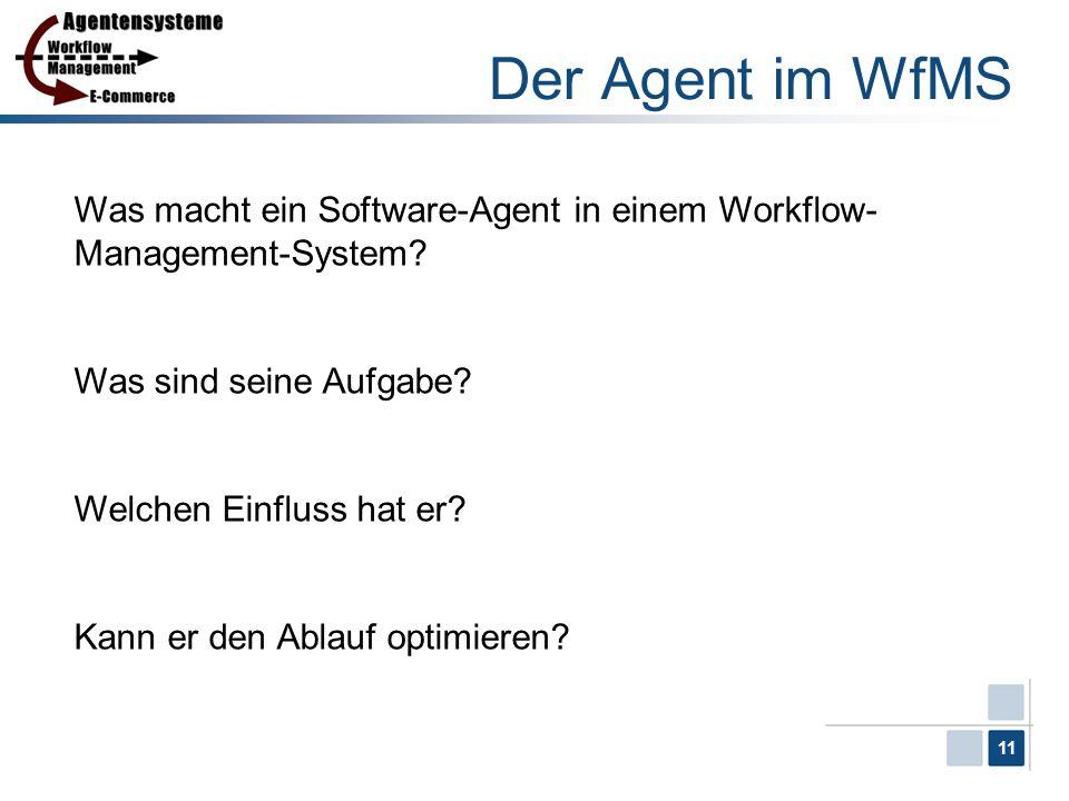 11 Der Agent im WfMS Was macht ein Software-Agent in einem Workflow- Management-System? Was sind seine Aufgabe? Welchen Einfluss hat er? Kann er den A
