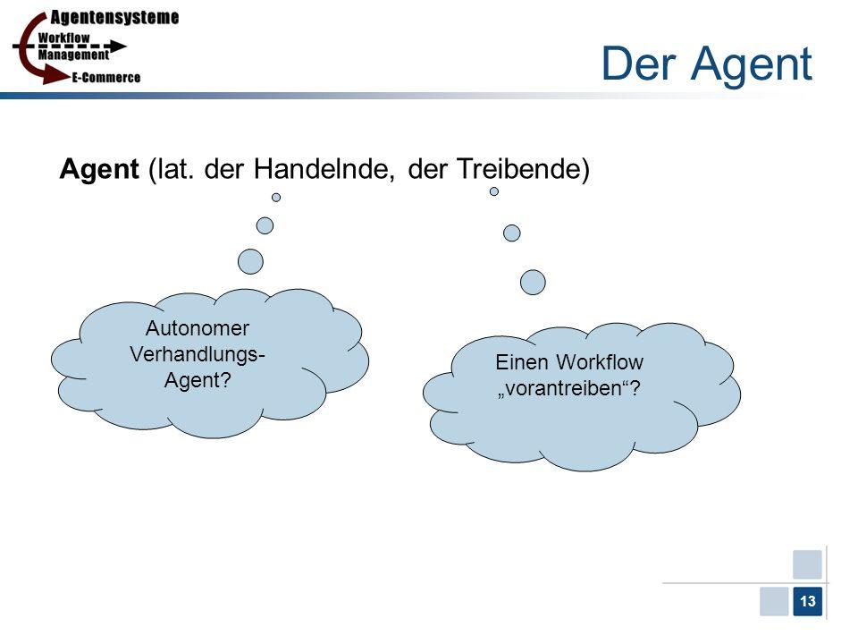 13 Der Agent Agent (lat. der Handelnde, der Treibende) Autonomer Verhandlungs- Agent? Einen Workflow vorantreiben?