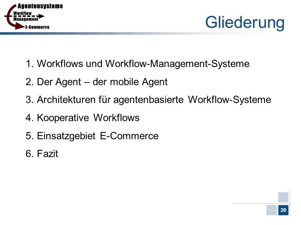 20 Gliederung 1.Workflows und Workflow-Management-Systeme 2.Der Agent – der mobile Agent 3.Architekturen für agentenbasierte Workflow-Systeme 4.Kooper