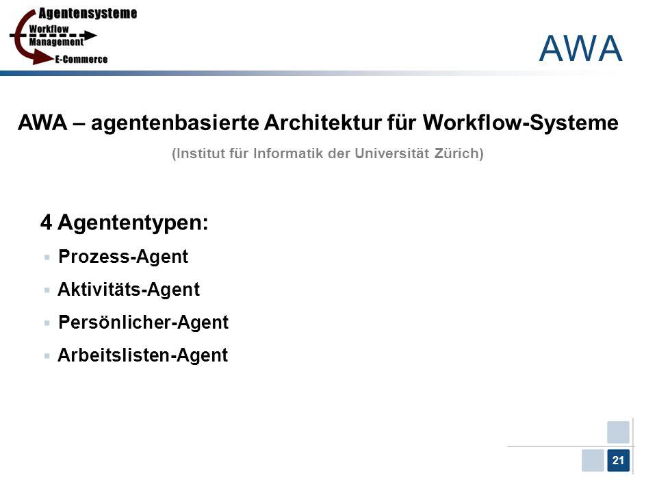 21 AWA AWA – agentenbasierte Architektur für Workflow-Systeme (Institut für Informatik der Universität Zürich) 4 Agententypen: Prozess-Agent Aktivität