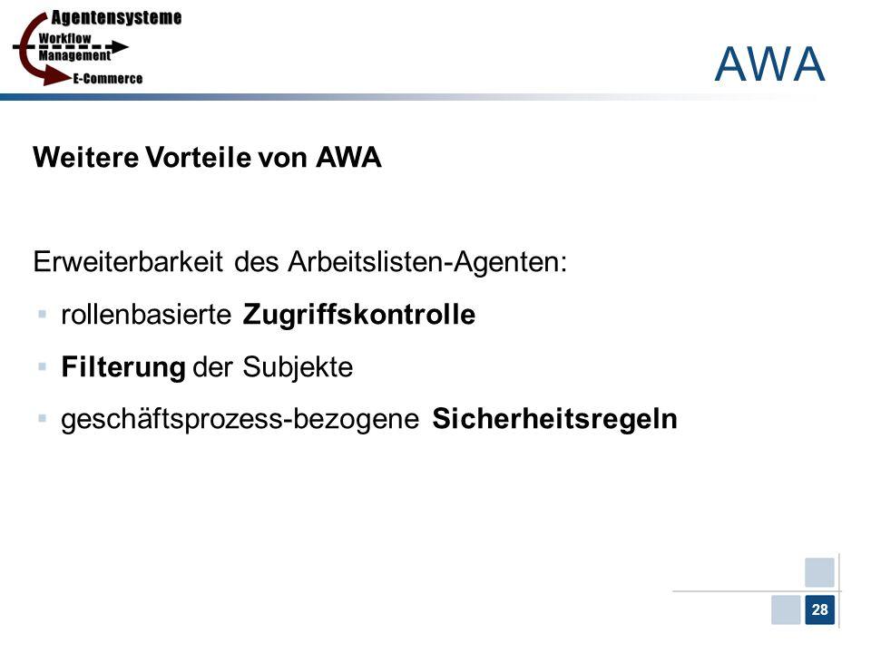 28 Weitere Vorteile von AWA Erweiterbarkeit des Arbeitslisten-Agenten: rollenbasierte Zugriffskontrolle Filterung der Subjekte geschäftsprozess-bezoge