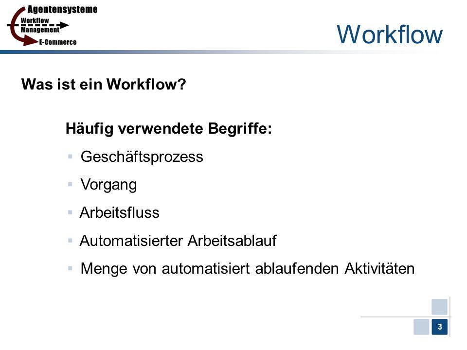 3 Workflow Was ist ein Workflow? Häufig verwendete Begriffe: Geschäftsprozess Vorgang Arbeitsfluss Automatisierter Arbeitsablauf Menge von automatisie