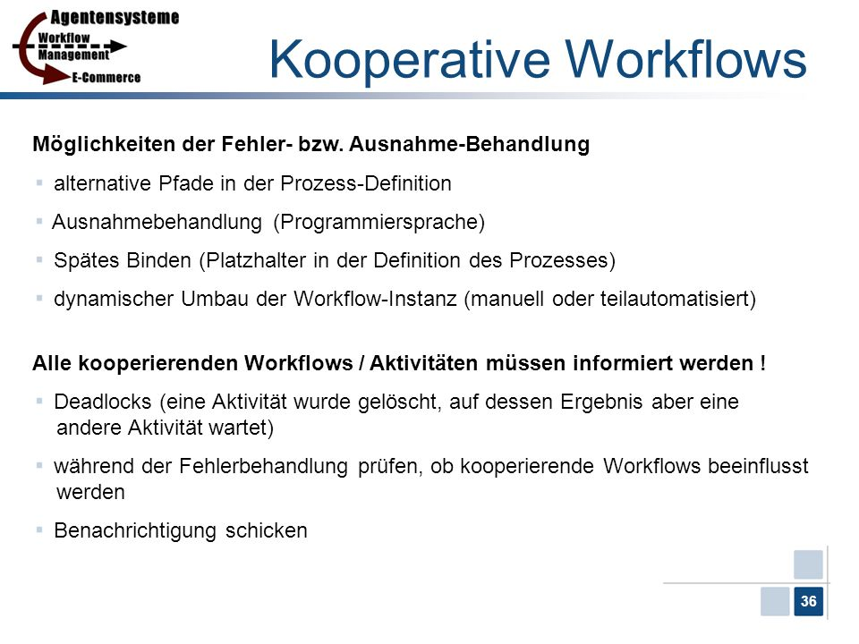 36 Kooperative Workflows Möglichkeiten der Fehler- bzw. Ausnahme-Behandlung alternative Pfade in der Prozess-Definition Ausnahmebehandlung (Programmie