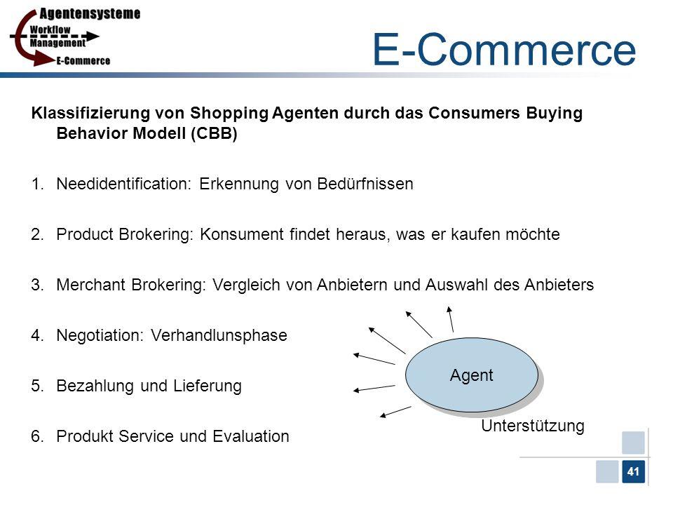 41 E-Commerce Klassifizierung von Shopping Agenten durch das Consumers Buying Behavior Modell (CBB) 1.Needidentification: Erkennung von Bedürfnissen 2