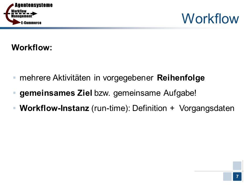7 Workflow Workflow: mehrere Aktivitäten in vorgegebener Reihenfolge gemeinsames Ziel bzw. gemeinsame Aufgabe! Workflow-Instanz (run-time): Definition