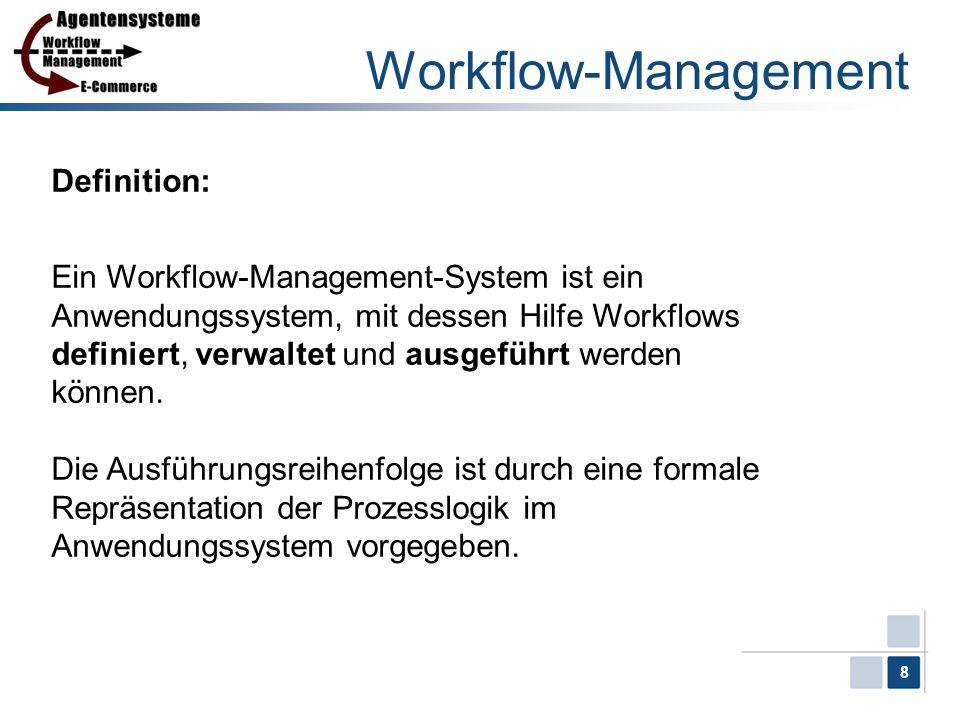 8 Workflow-Management Definition: Ein Workflow-Management-System ist ein Anwendungssystem, mit dessen Hilfe Workflows definiert, verwaltet und ausgefü