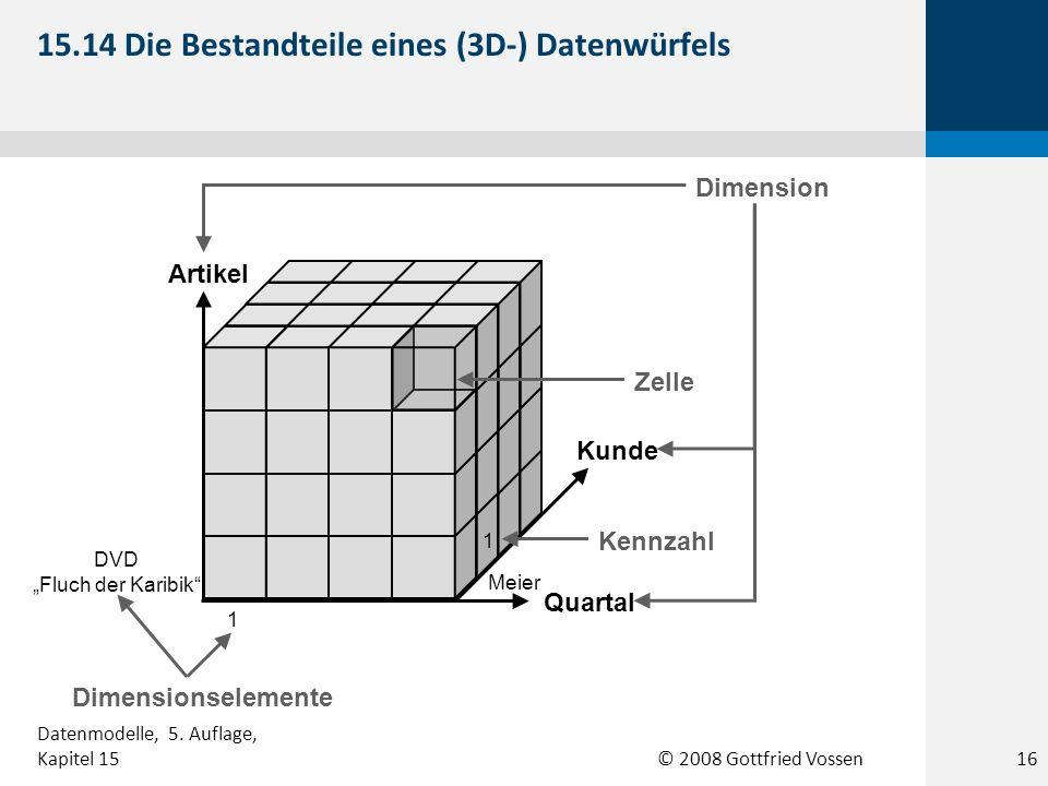 © 2008 Gottfried Vossen Artikel Kunde Quartal 1 DVD Fluch der Karibik Meier Zelle Dimension 1 Kennzahl Dimensionselemente 15.14 Die Bestandteile eines