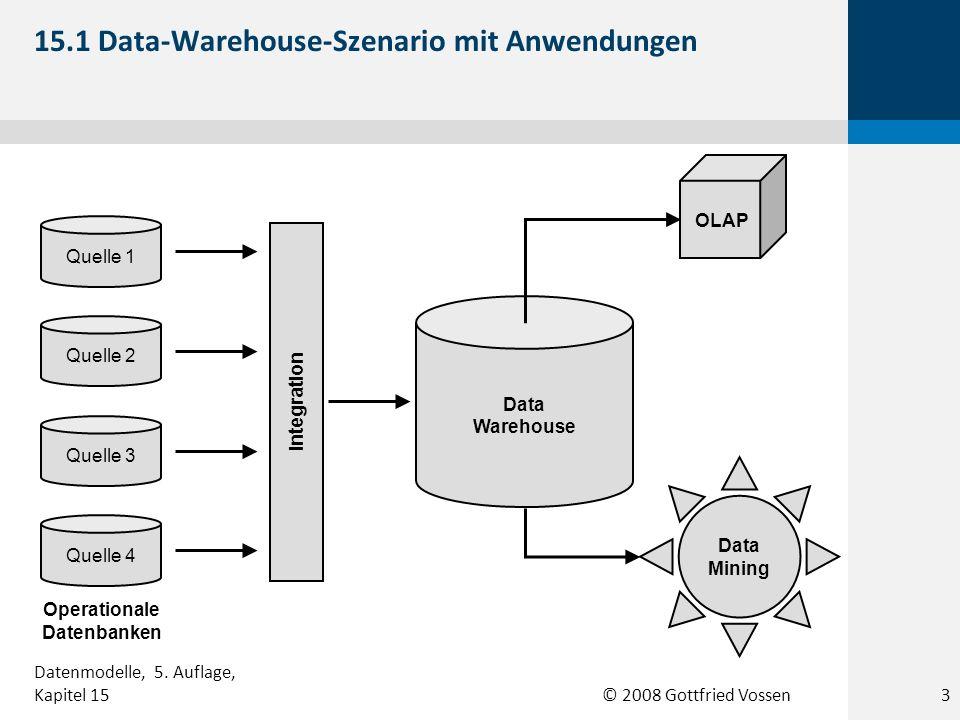 © 2008 Gottfried Vossen Integration Quelle 1 Quelle 4 Quelle 3 Quelle 2 Data Warehouse OLAP Data Mining Operationale Datenbanken 15.1 Data-Warehouse-S
