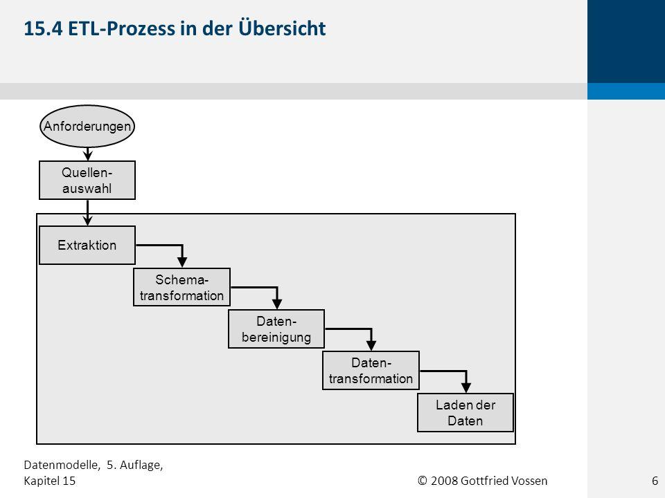 © 2008 Gottfried Vossen Anforderungen Extraktion Schema- transformation Daten- bereinigung Daten- transformation Laden der Daten Quellen- auswahl 15.4