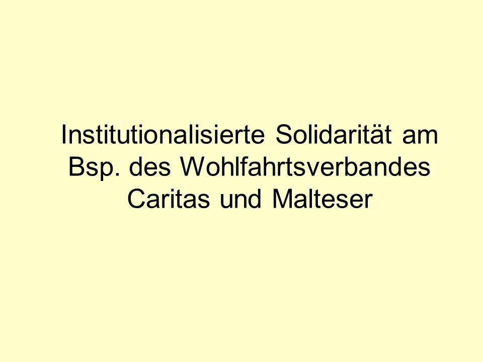 Institutionalisierte Solidarität am Bsp. des Wohlfahrtsverbandes Caritas und Malteser