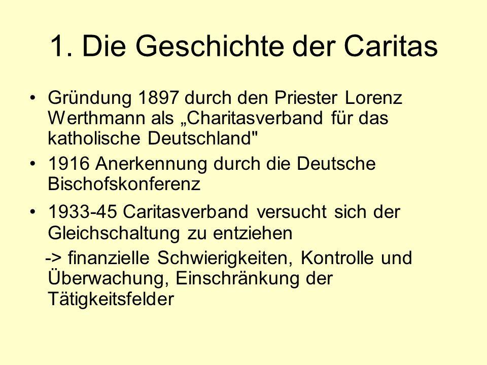 1. Die Geschichte der Caritas Gründung 1897 durch den Priester Lorenz Werthmann als Charitasverband für das katholische Deutschland