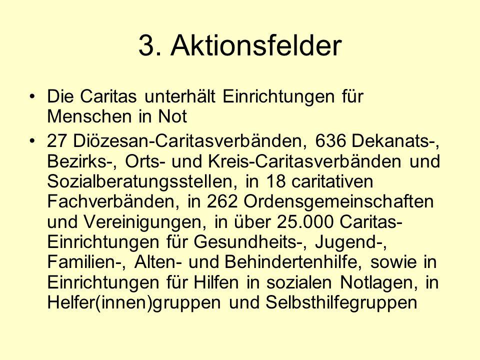 3. Aktionsfelder Die Caritas unterhält Einrichtungen für Menschen in Not 27 Diözesan-Caritasverbänden, 636 Dekanats-, Bezirks-, Orts- und Kreis-Carita