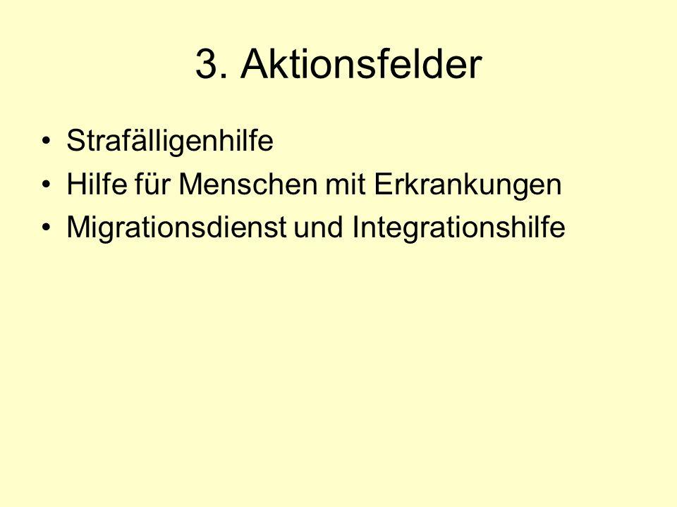 3. Aktionsfelder Strafälligenhilfe Hilfe für Menschen mit Erkrankungen Migrationsdienst und Integrationshilfe