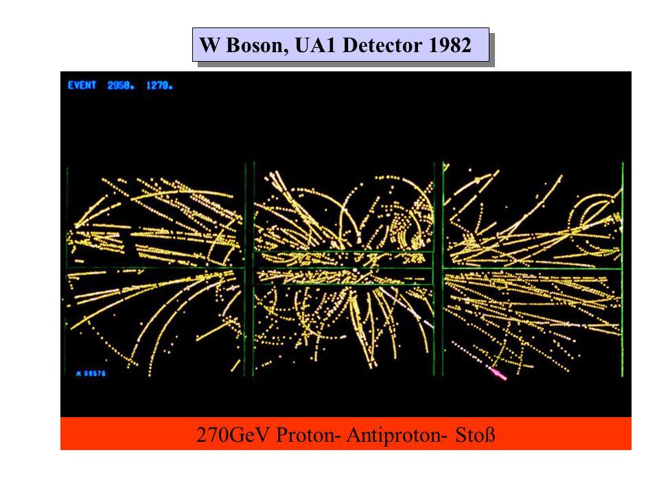 W Boson, UA1 Detector 1982 270GeV Proton- Antiproton- Stoß