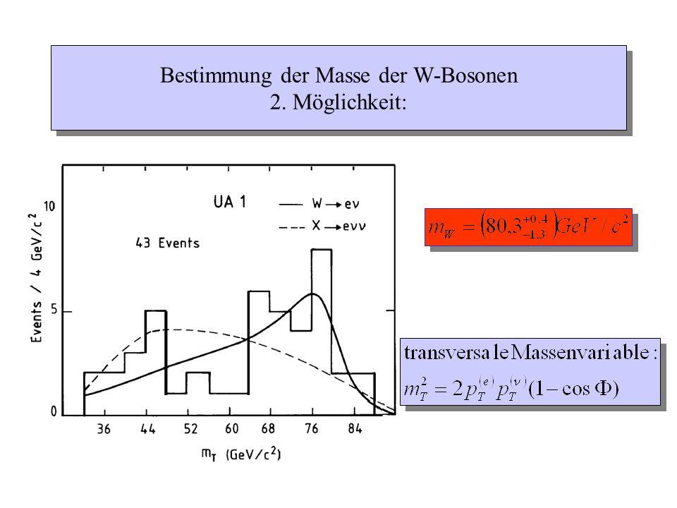 Bestimmung der Masse der W-Bosonen 2. Möglichkeit: