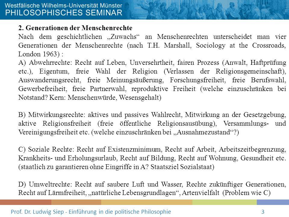 Prof. Dr. Ludwig Siep - Einführung in die politische Philosophie3 2. Generationen der Menschenrechte Nach dem geschichtlichen Zuwachs an Menschenrecht