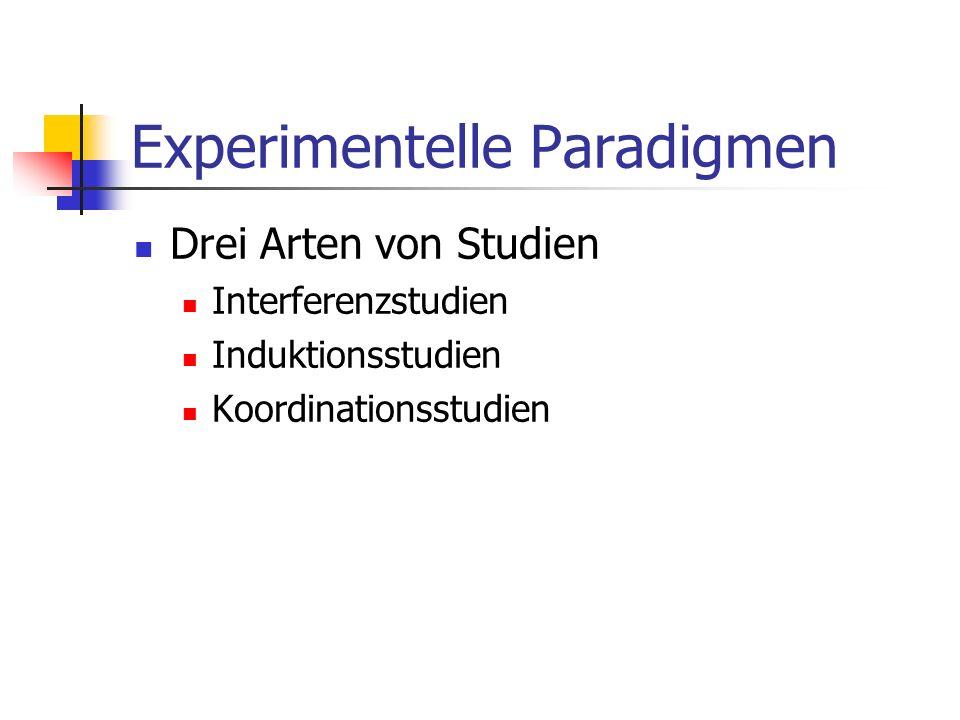 Experimentelle Paradigmen Drei Arten von Studien Interferenzstudien Induktionsstudien Koordinationsstudien