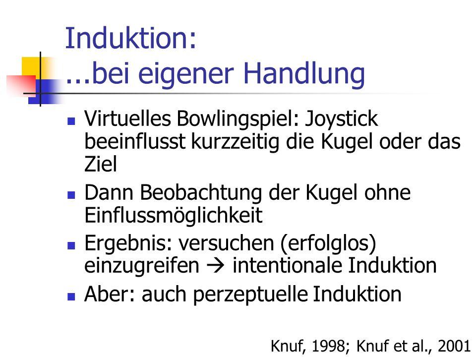 Induktion:...bei eigener Handlung Virtuelles Bowlingspiel: Joystick beeinflusst kurzzeitig die Kugel oder das Ziel Dann Beobachtung der Kugel ohne Ein