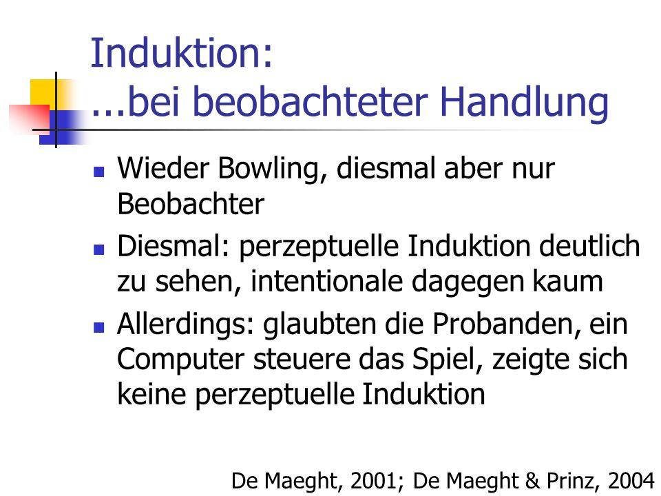 Induktion:...bei beobachteter Handlung Wieder Bowling, diesmal aber nur Beobachter Diesmal: perzeptuelle Induktion deutlich zu sehen, intentionale dag