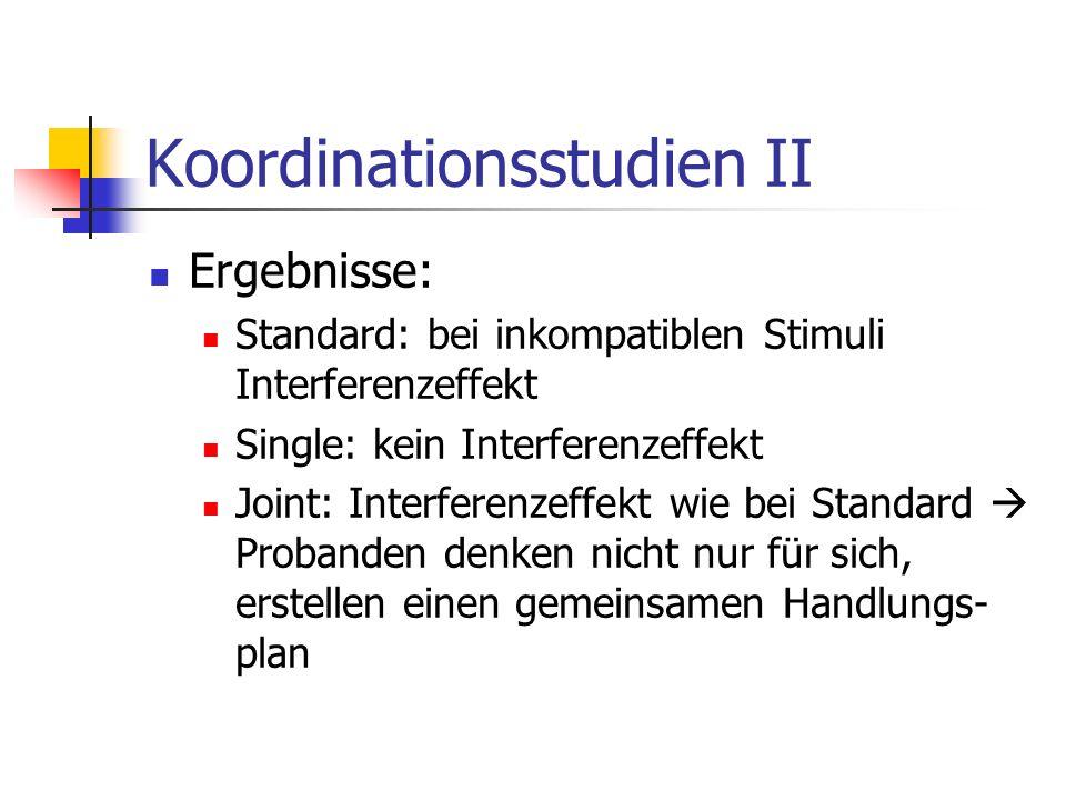 Koordinationsstudien II Ergebnisse: Standard: bei inkompatiblen Stimuli Interferenzeffekt Single: kein Interferenzeffekt Joint: Interferenzeffekt wie