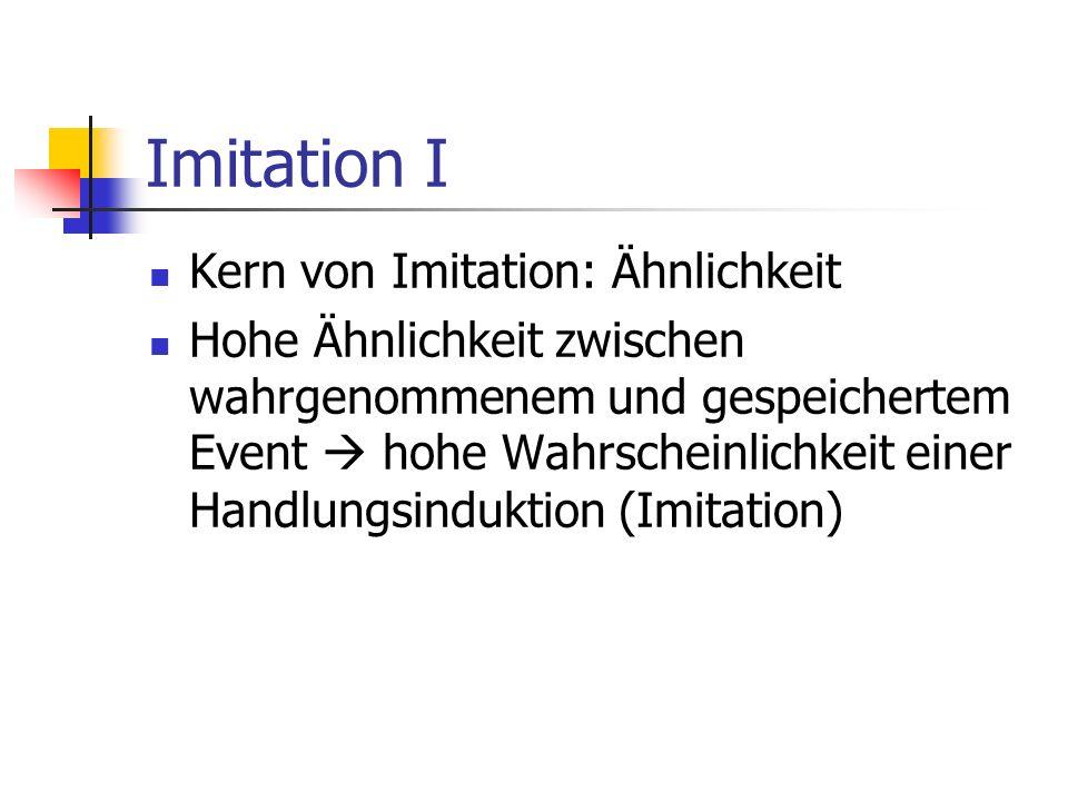 Imitation I Kern von Imitation: Ähnlichkeit Hohe Ähnlichkeit zwischen wahrgenommenem und gespeichertem Event hohe Wahrscheinlichkeit einer Handlungsin