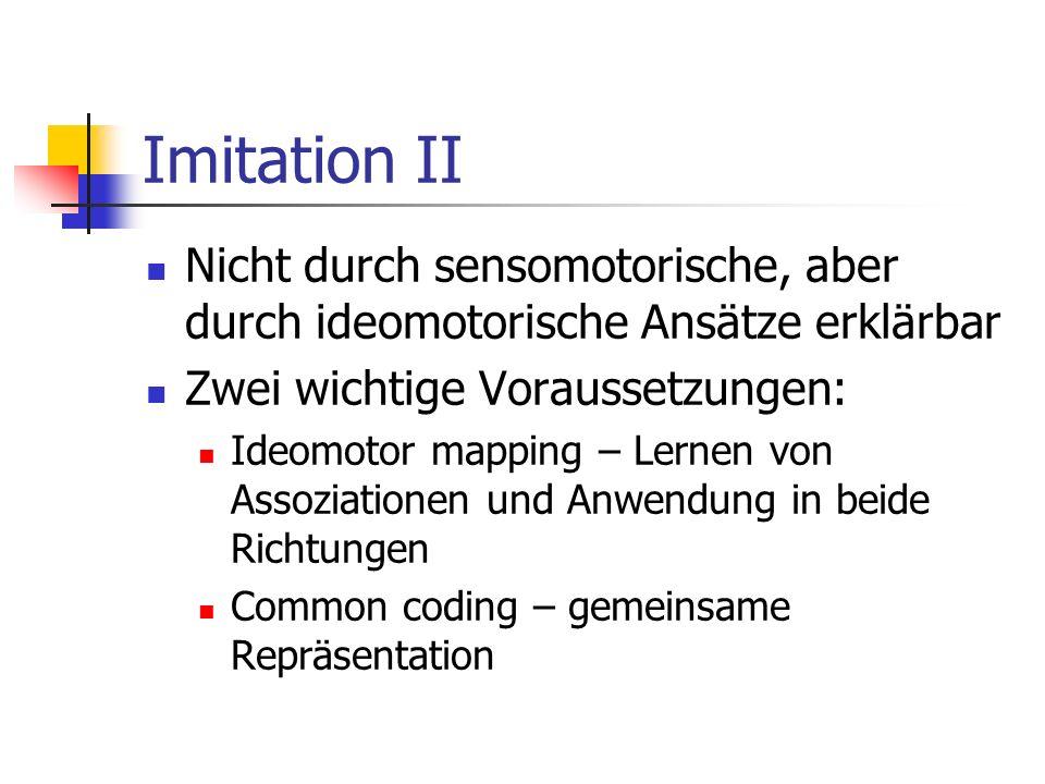Imitation II Nicht durch sensomotorische, aber durch ideomotorische Ansätze erklärbar Zwei wichtige Voraussetzungen: Ideomotor mapping – Lernen von As