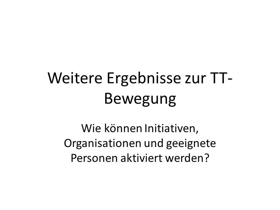 Weitere Ergebnisse zur TT- Bewegung Wie können Initiativen, Organisationen und geeignete Personen aktiviert werden