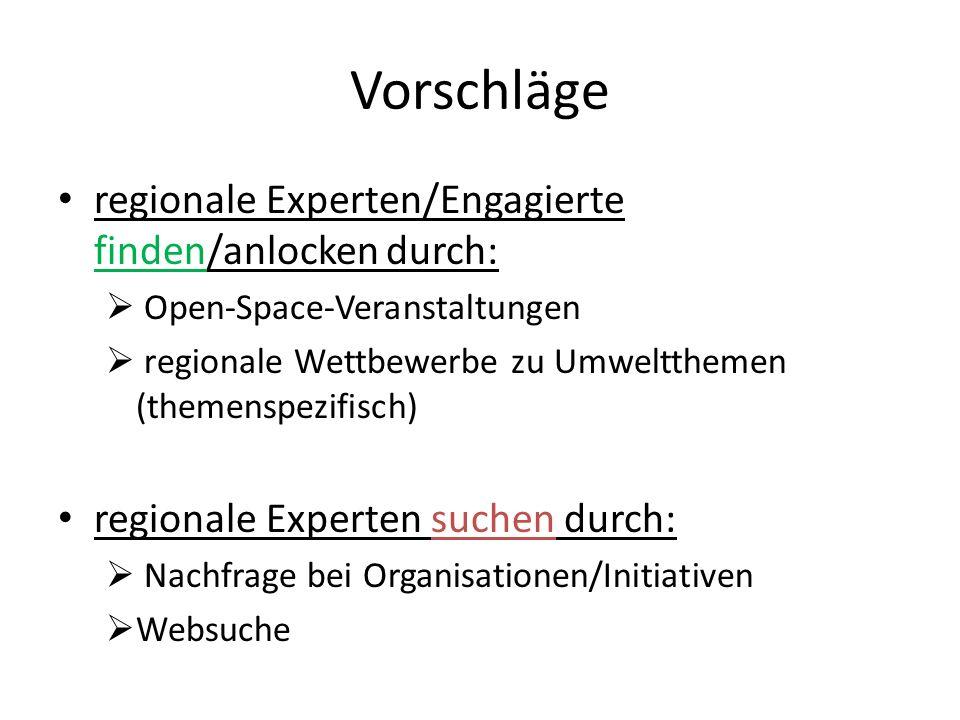 Vorschläge regionale Experten/Engagierte finden/anlocken durch: Open-Space-Veranstaltungen regionale Wettbewerbe zu Umweltthemen (themenspezifisch) regionale Experten suchen durch: Nachfrage bei Organisationen/Initiativen Websuche