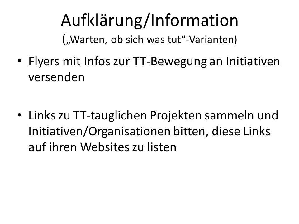 Aufklärung/Information ( Warten, ob sich was tut-Varianten) Flyers mit Infos zur TT-Bewegung an Initiativen versenden Links zu TT-tauglichen Projekten sammeln und Initiativen/Organisationen bitten, diese Links auf ihren Websites zu listen