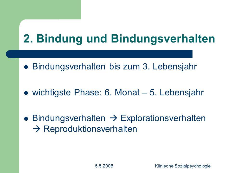 5.5.2008Klinische Sozialpsychologie 8.Deprivationsvarianten 1.