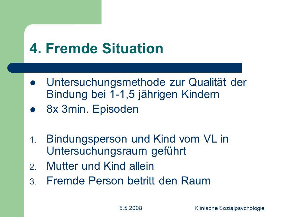 5.5.2008Klinische Sozialpsychologie 4.Fremde Situation 4.
