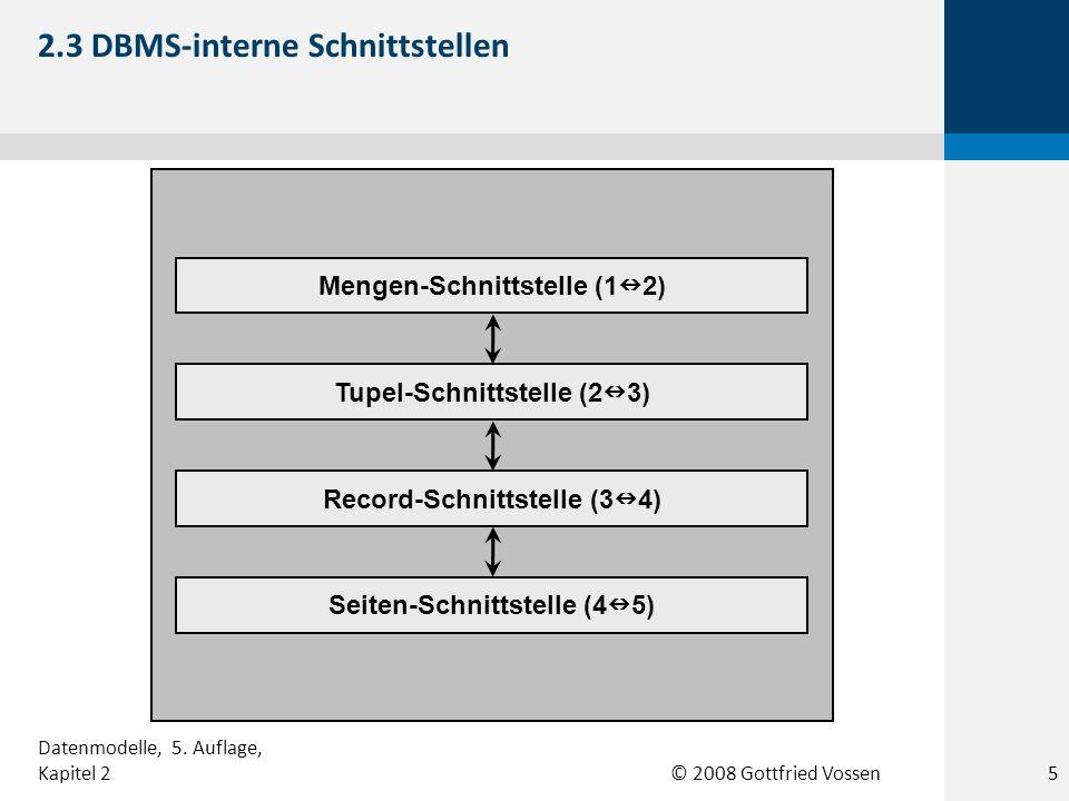 © 2008 Gottfried Vossen Tupel-Schnittstelle (2 3) Record-Schnittstelle (3 4) Seiten-Schnittstelle (4 5) Mengen-Schnittstelle (1 2) 2.3 DBMS-interne Sc