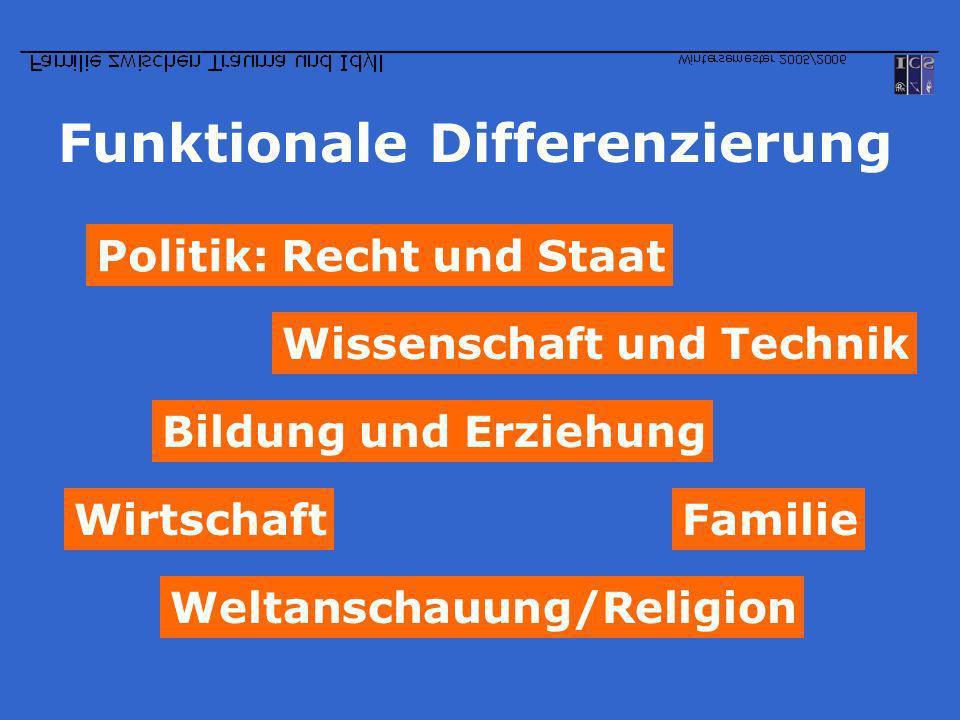 Funktionale Differenzierung Politik: Recht und Staat Wirtschaft Wissenschaft und Technik Weltanschauung/Religion Bildung und Erziehung Familie