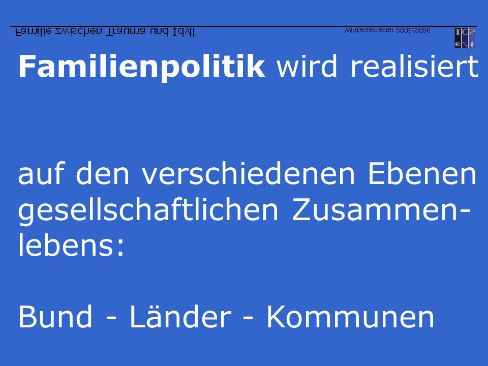 Familienpolitik wird realisiert auf den verschiedenen Ebenen gesellschaftlichen Zusammen- lebens: Bund - Länder - Kommunen
