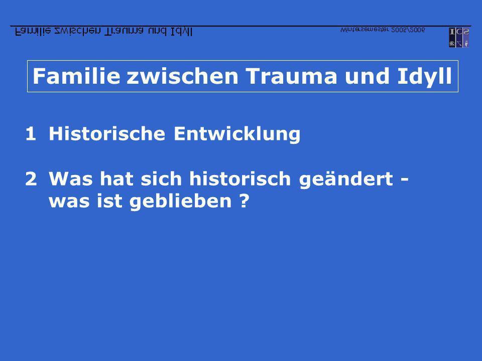 Familie zwischen Trauma und Idyll 1Historische Entwicklung 2Was hat sich historisch geändert - was ist geblieben ?