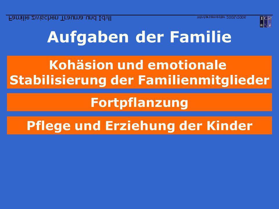 Aufgaben der Familie Pflege und Erziehung der Kinder Kohäsion und emotionale Stabilisierung der Familienmitglieder Fortpflanzung