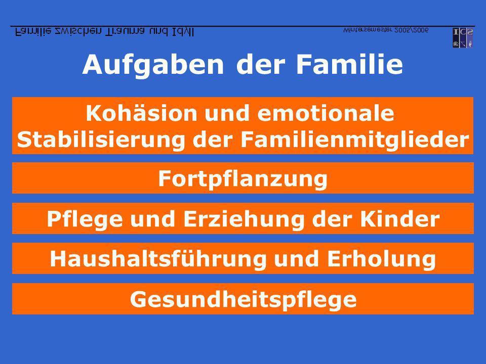 Aufgaben der Familie Pflege und Erziehung der Kinder Kohäsion und emotionale Stabilisierung der Familienmitglieder Fortpflanzung Haushaltsführung und